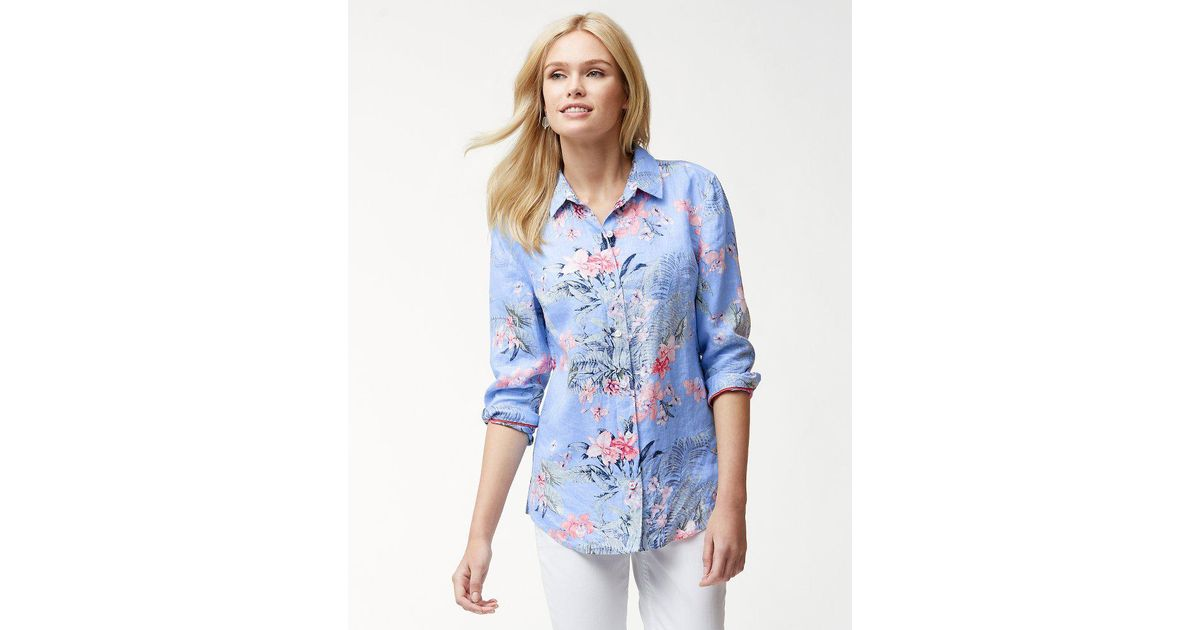 872e483ad6c Tommy Bahama Madeira Blooms Linen Shirt in Blue - Lyst