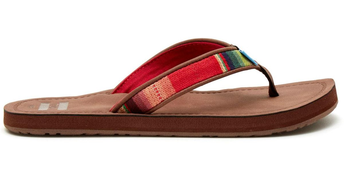 Toms Flip Flops - Toms Solana Flip Flops - Brown Multi Textile Qpk57jmQxy