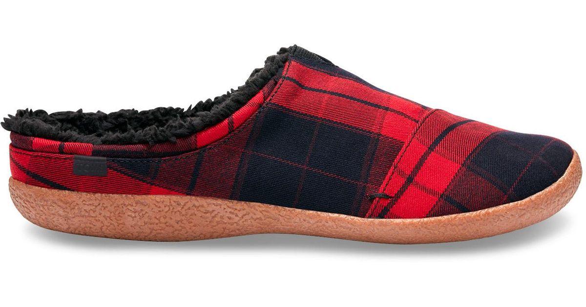 Toms Rubber Red Plaid Men S Berkeley Slippers For Men Lyst