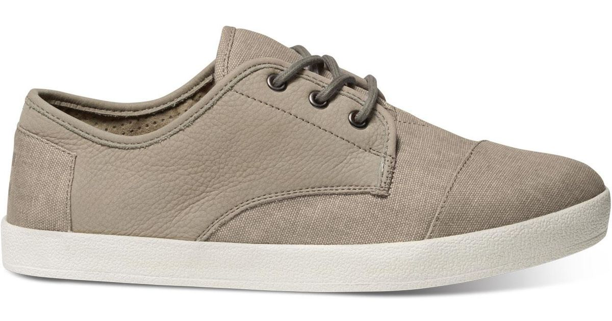 TOMS Taupe Leather/washed Canvas Men's