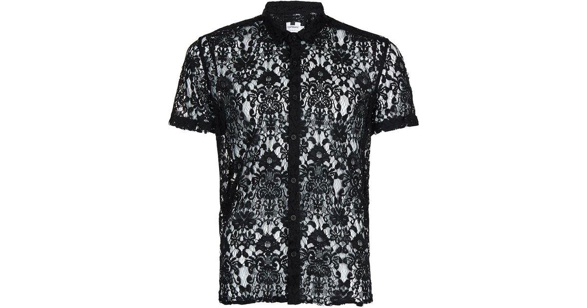 Topman Black Lace Short Sleeve Casual Shirt For Men Lyst