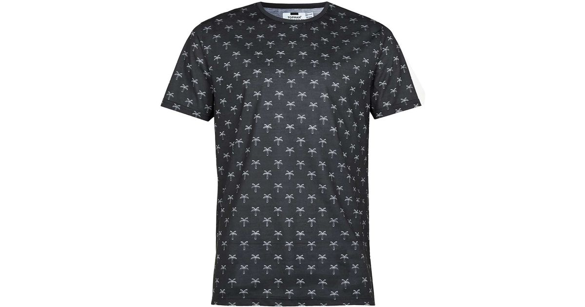Topman black palm print t shirt in black for men save 56 for T shirt printing in colorado springs
