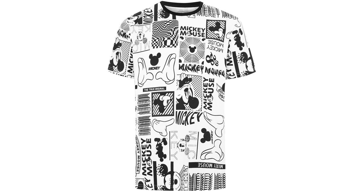 8d510abb TOPMAN White Mickey Mouse T-shirt in White for Men - Lyst