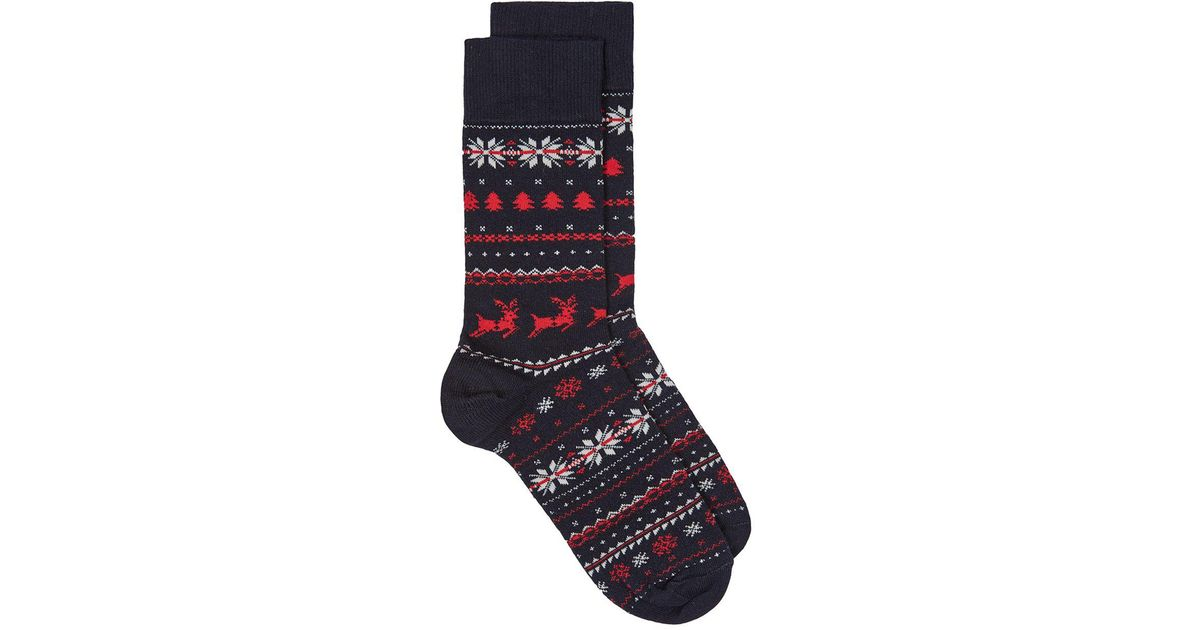 Topman Navy Red And White Christmas Fair Isle Socks in Blue for ...