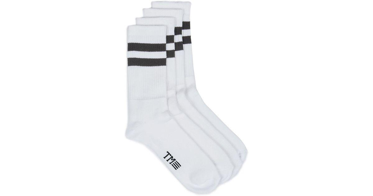 8fca082b2 Topman White And Black Stripe Tube Socks 4 Pack in White for Men - Lyst