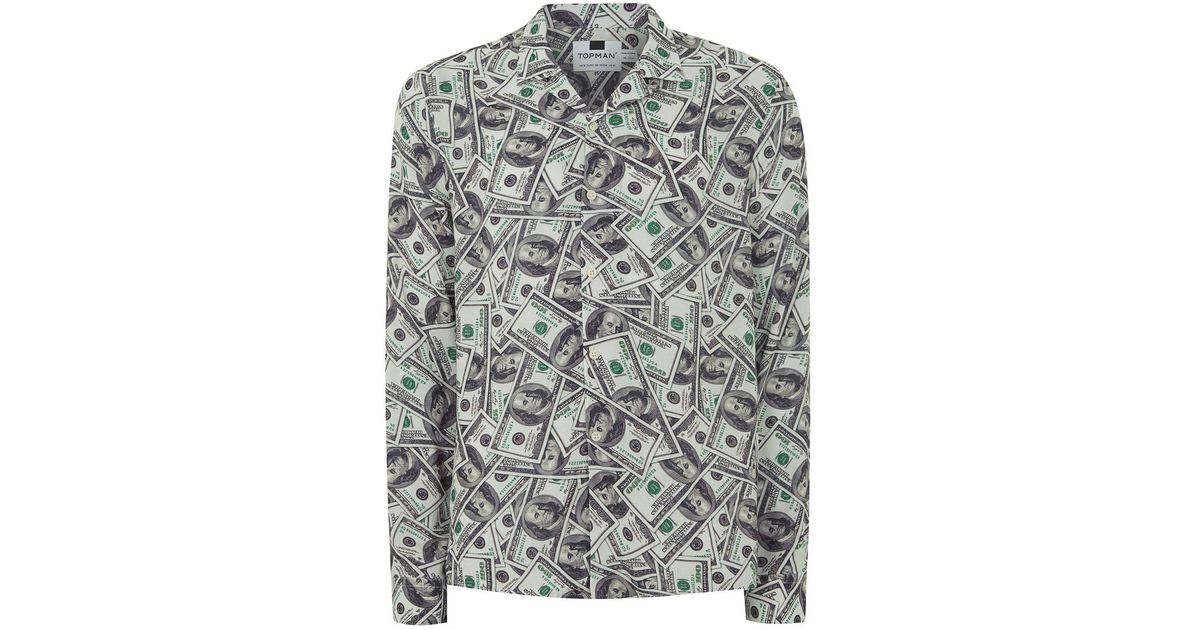 Lyst topman green dollar bill shirt in green for men for Cute shirts for 5 dollars