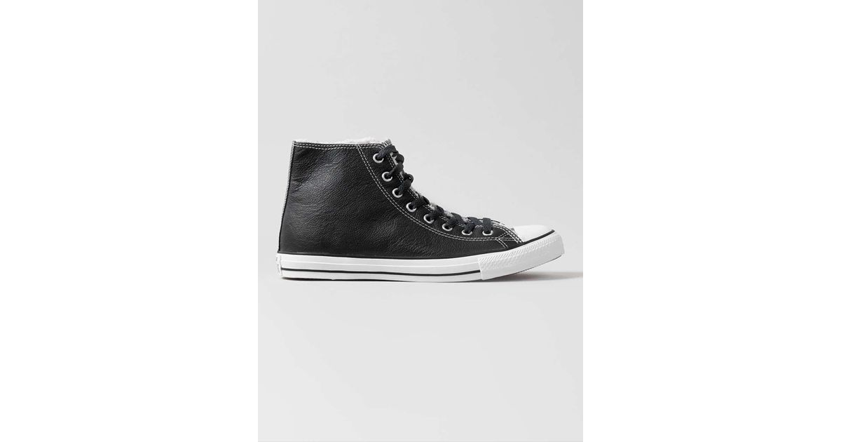 Converse Black Leather Hi Tops in Black for Men - Lyst 36773ff20