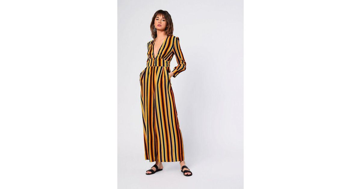 7bae2a67d5b Topshop striped Button Front Jumpsuit By Glamorous Tall - Lyst