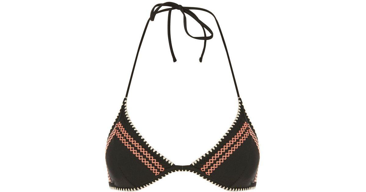 8b7f1d62ddeb7 Lyst - TOPSHOP Crochet Stitch Triangle Bikini Top in Black