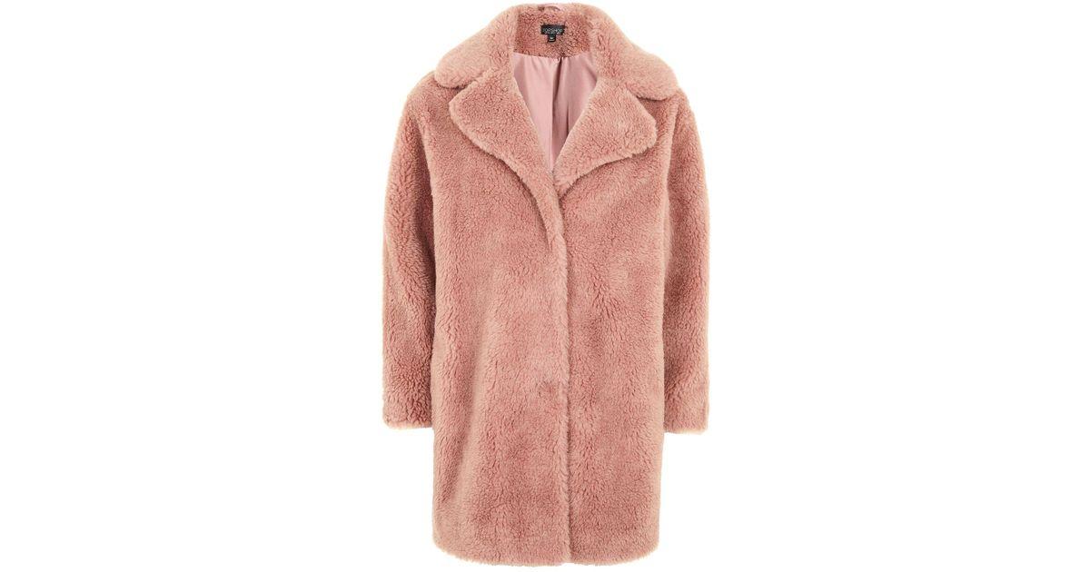 Topshop Teddy Faux Fur Coat in Pink | Lyst