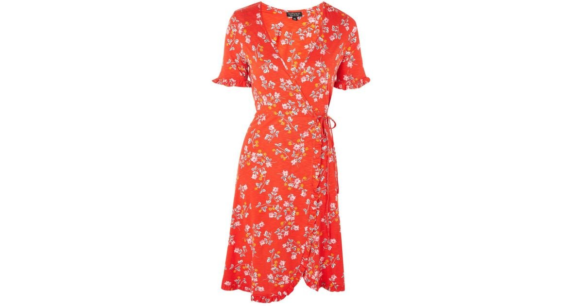 sale retailer new product best TOPSHOP Red Ditsy Floral Print Wrap Dress