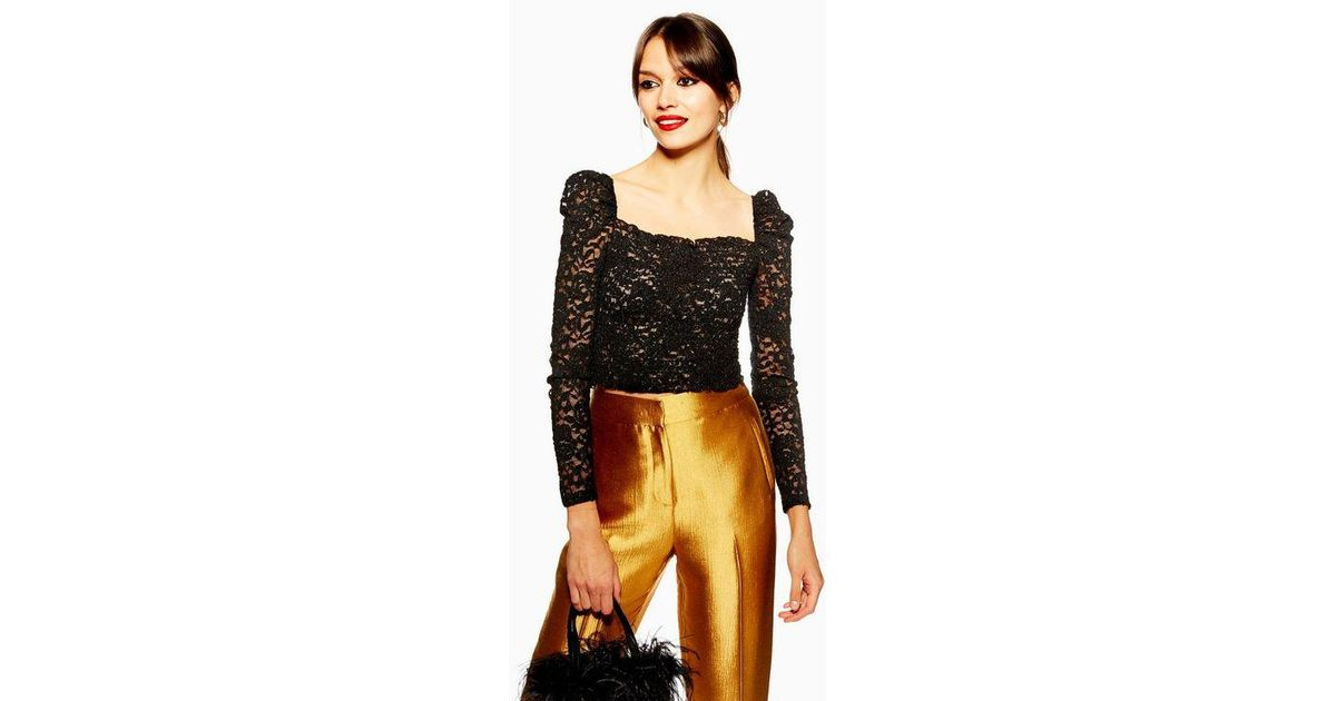 8ccad00940a06 TOPSHOP Metallic Daisy Lace Top in Black - Lyst