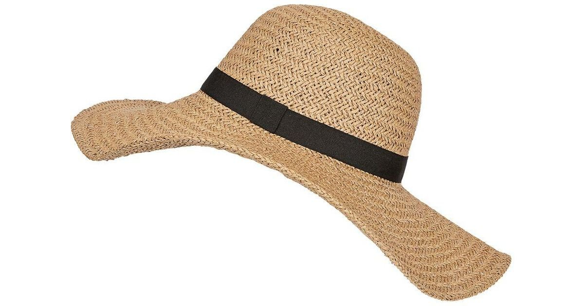 4a48cd5b6ab TOPSHOP Core Straw Floppy Hat in Natural - Lyst