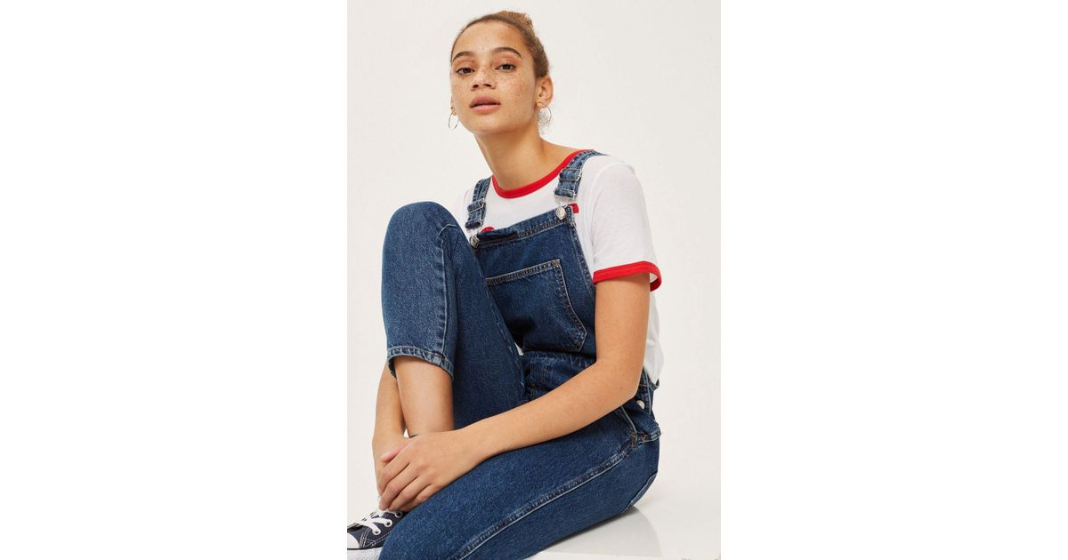 Lyst - Topshop Petite Slim Leg Dungarees in Blue fce288aa23818