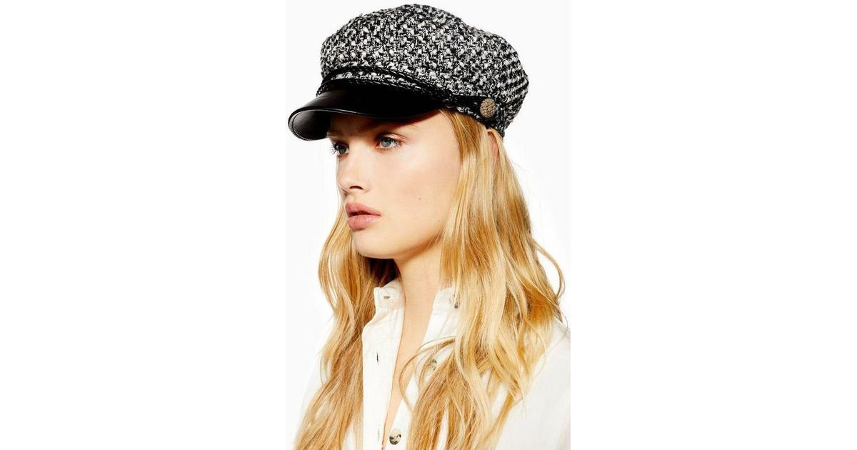 TOPSHOP Boucle Baker Boy Hat in Black - Lyst 65f237adf25