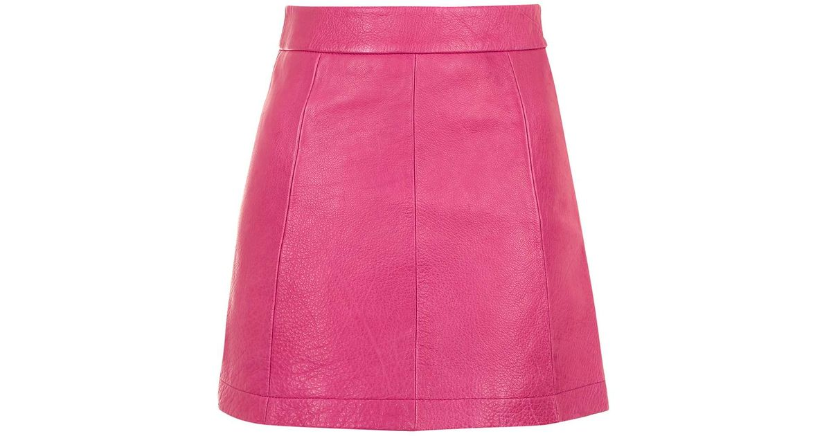 topshop pink leather a line skirt in pink lyst