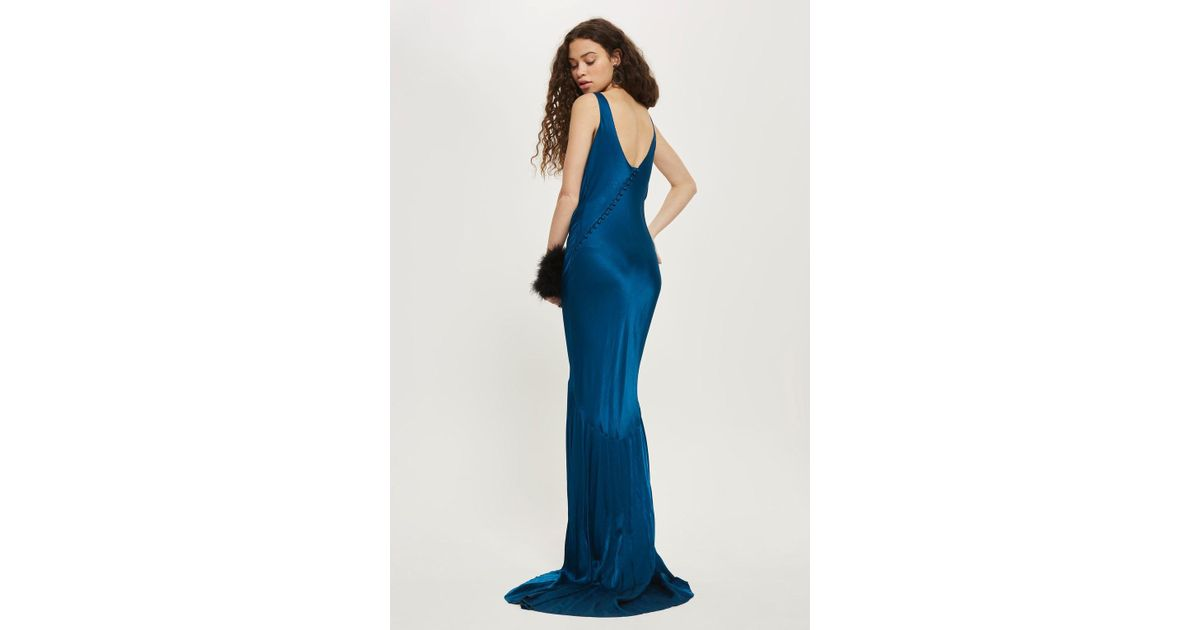 Topshop Satin Fishtail Gown in Blue - Lyst