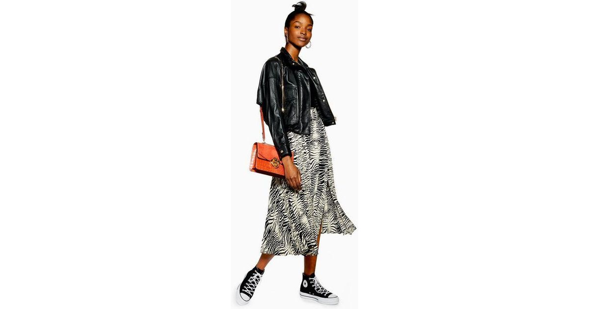 durable modeling professional website lower price with TOPSHOP Black Zebra Belted Pleated Midi Skirt