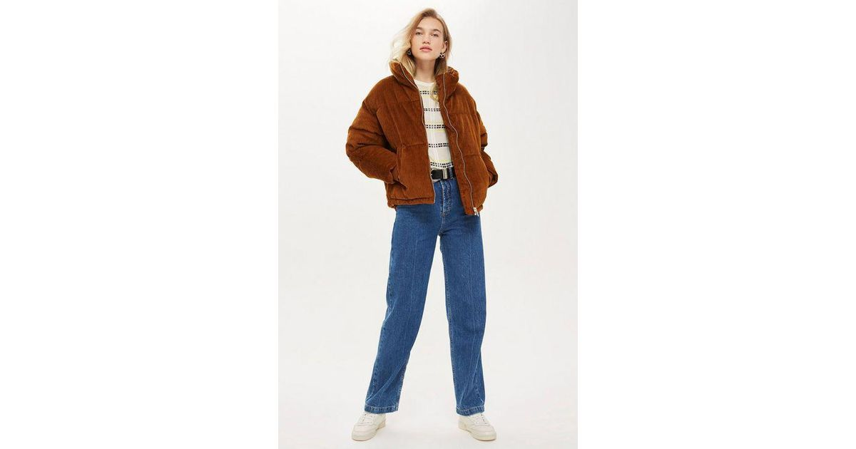 TOPSHOP Chunky Corduroy Puffer Jacket in Tobacco (Brown ...