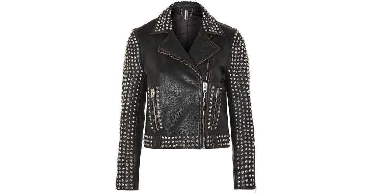 faff407aa TOPSHOP Studded Leather Biker Jacket in Black - Lyst
