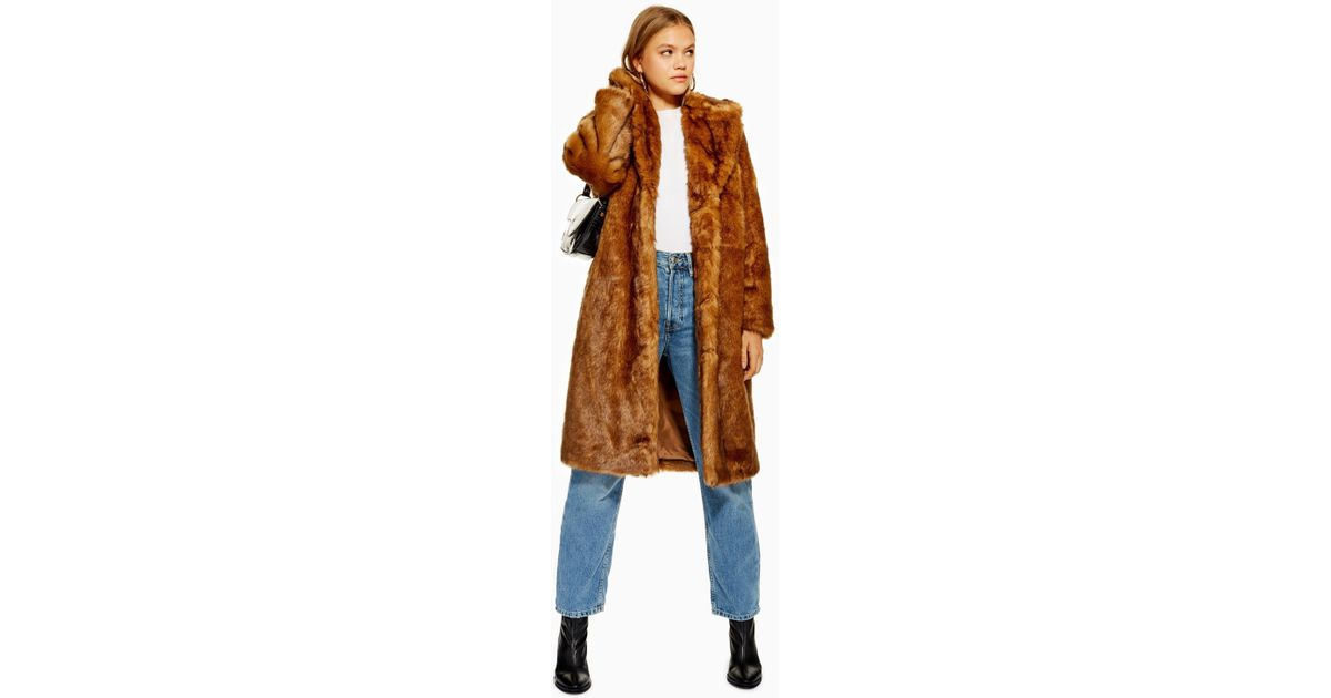 Brown Synthétique Vintage Long Coloris Topshop En Manteau Fourrure mw0v8ONn