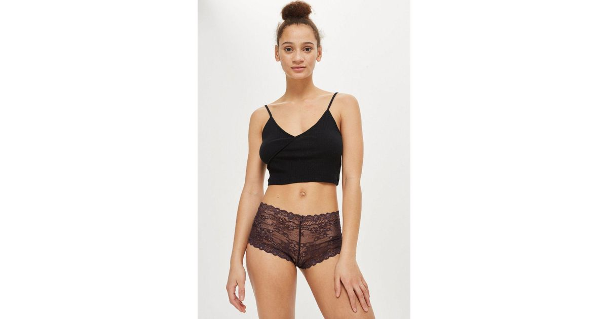 Topshop NO VPL size 14 sheer Lace Knickers Panties Briefs floral lace Black