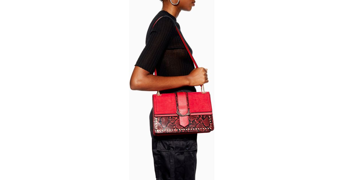 new concept newest collection running shoes TOPSHOP Synthetic Suri Snake Print Shoulder Bag in Red - Lyst