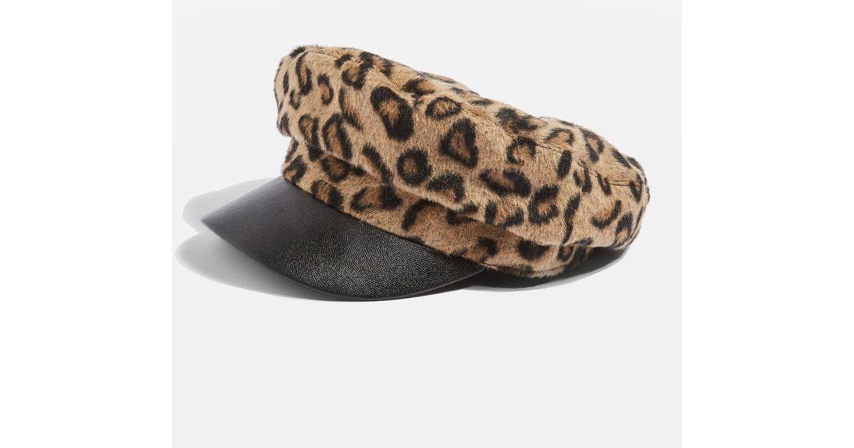 3589f5c7cb9 TOPSHOP Leopard Print Baker Boy Hat - Lyst