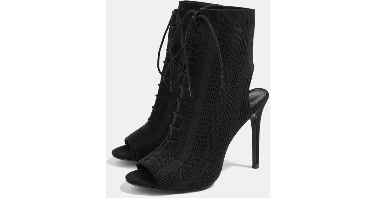 b9faa855ccf TOPSHOP Black Sandy Lace Up Sock Boots