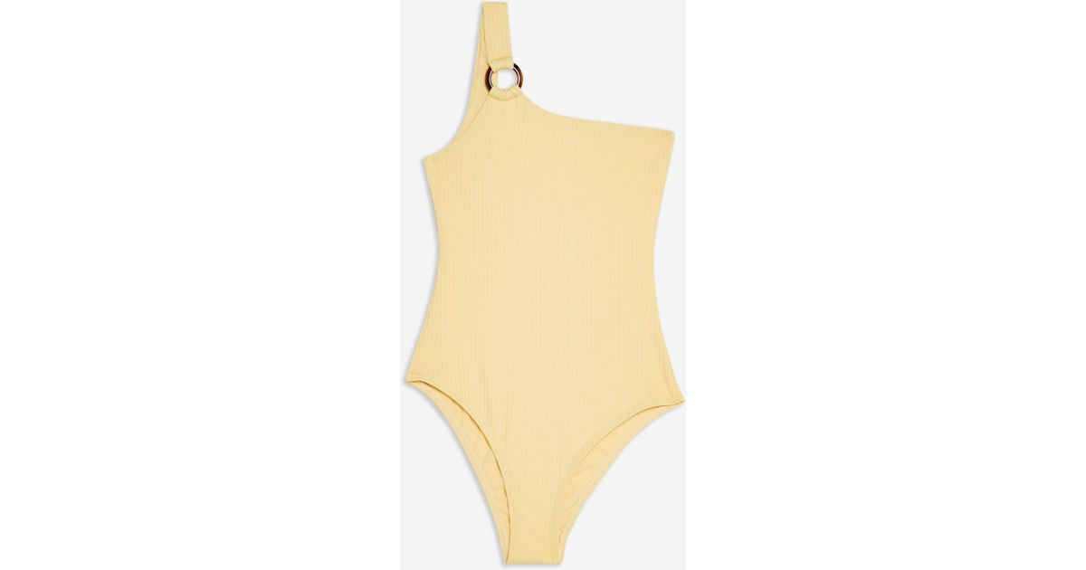 135cf8945c Lyst - Topshop Ribbed Ring One Shoulder Swimsuit in Yellow