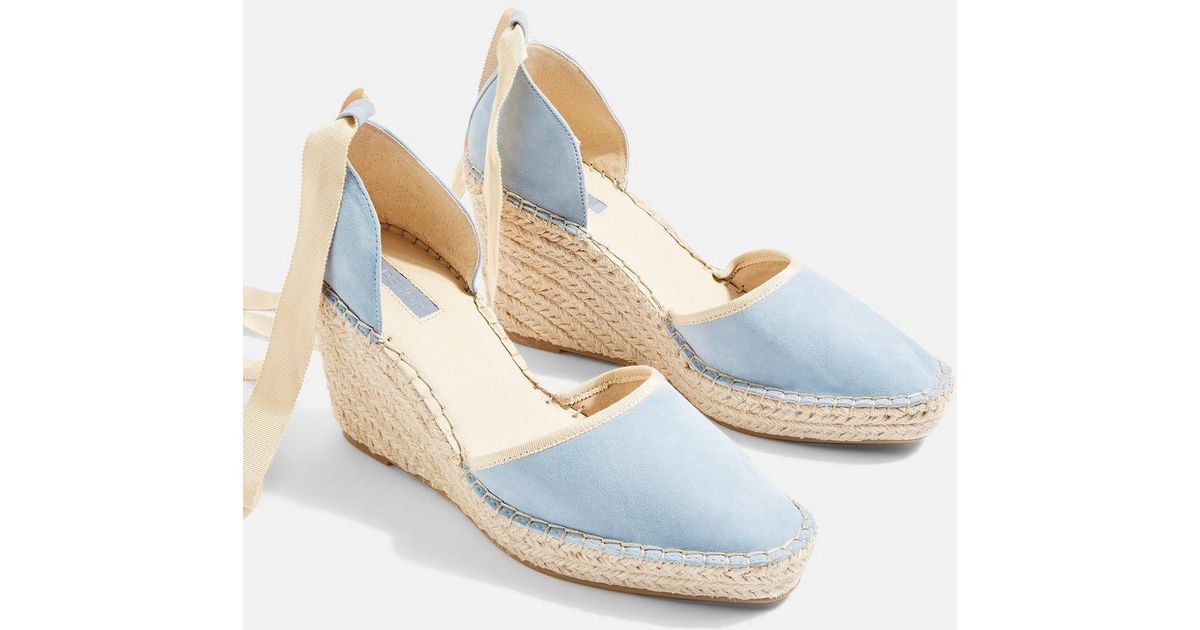 7fddf2253ebd Lyst - TOPSHOP Williams Espadrille Wedges in Blue