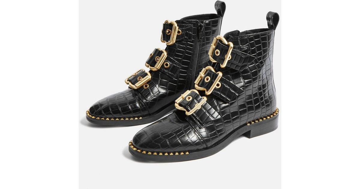 447539a53b70 TOPSHOP Alfie Croc Ankle Boots in Black - Lyst