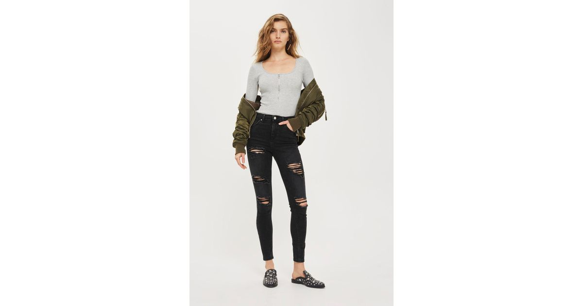 58ab3e4d86f TOPSHOP Ashed Black Super Ripped Jamie Jeans in Black - Lyst