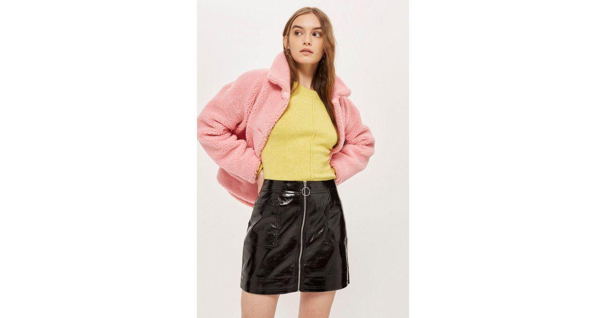 b1d2030770 TOPSHOP Petite Cracked Vinyl Mini Skirt in Black - Lyst
