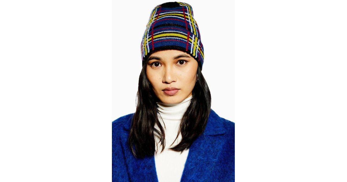 eb45b915af0 Topshop Check Brushed Beanie in Black - Lyst