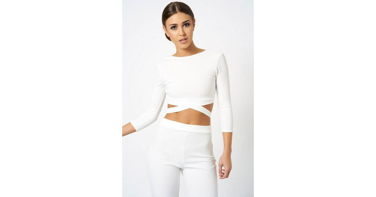 39b62932c Club L long Sleeve Cropped Top By London in White - Lyst