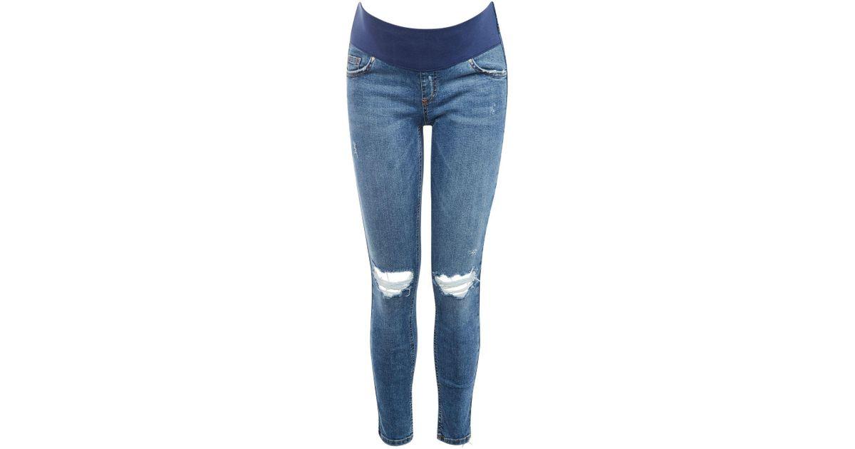2ed37d0aceaed TOPSHOP Maternity Mdt Rip Jamie Jeans in Blue - Lyst