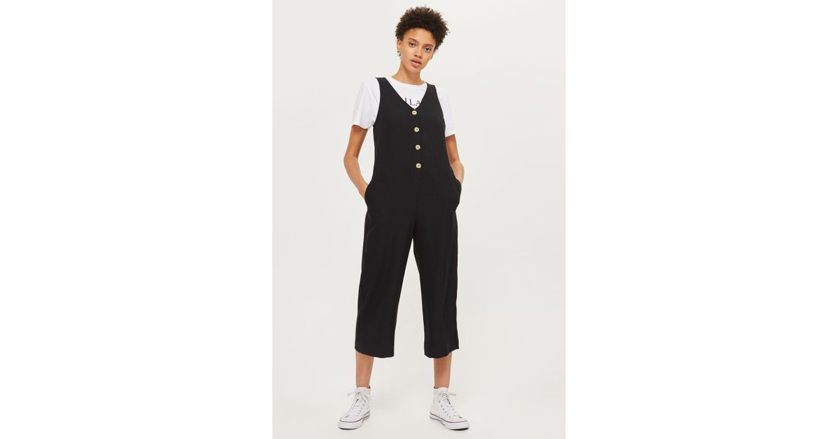 e24ae6aa576 TOPSHOP Slouch Button Front Jumpsuit in Black - Lyst