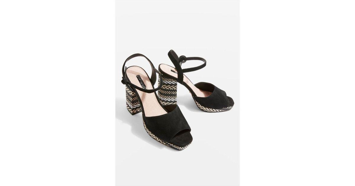 137fae6ceac Lyst - TOPSHOP Laura Woven Block Heel Sandal (women) in Black