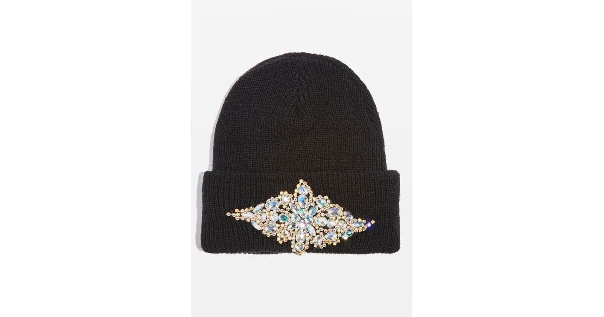 3c60edd11aa Lyst - TOPSHOP Bling Beanie Hat in Black