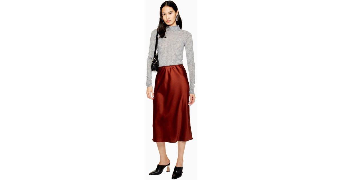 ea69d812108b TOPSHOP Satin Bias Cut Midi Skirt in Brown - Lyst