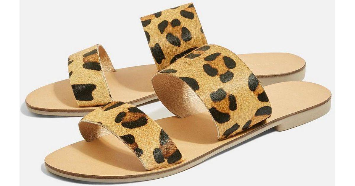 Hush Leopard Print Two Strap Sandals