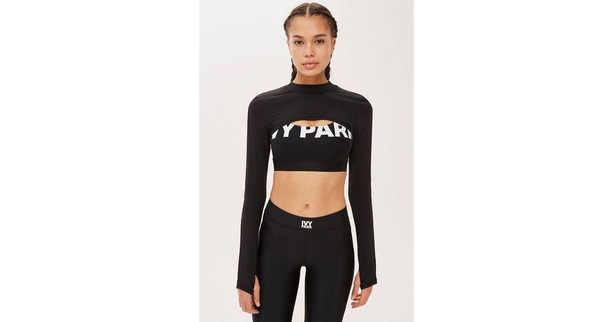 9d44ec3a645077 Ivy Park Long Sleeve Super Cropped Top By in Black - Lyst