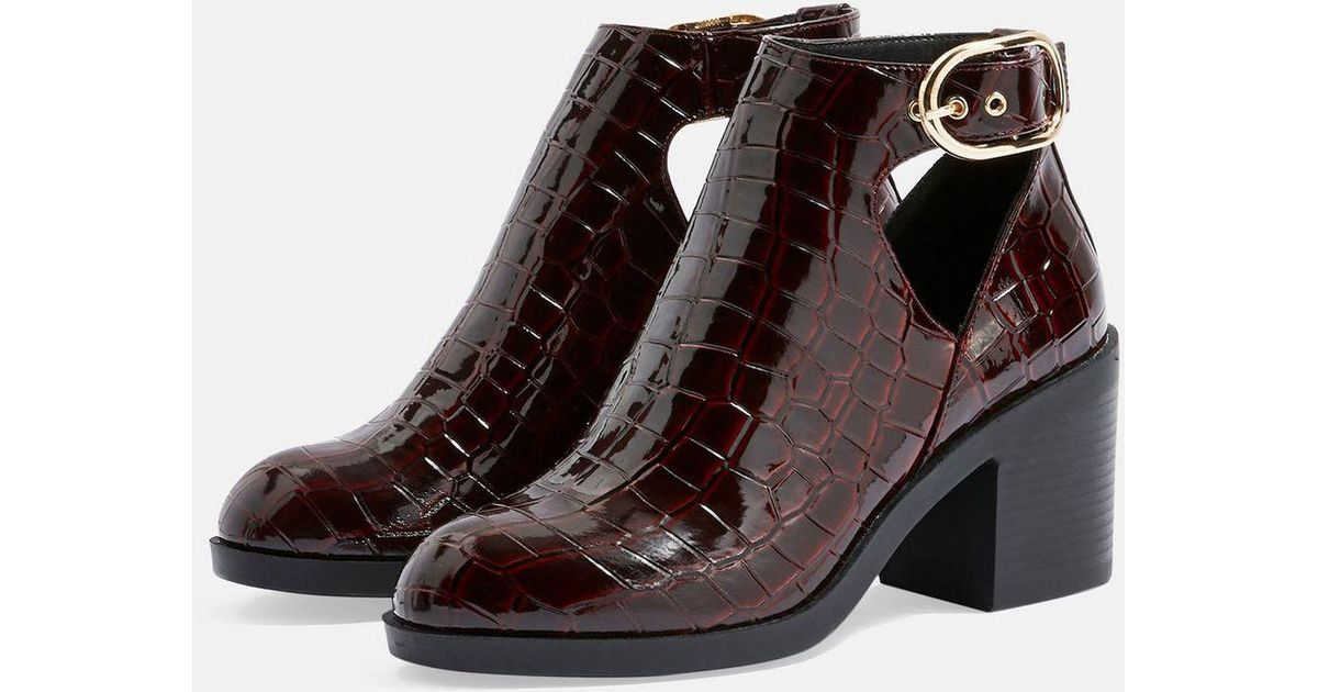 f5c62d9700 TOPSHOP Berlin Buckle Crocodile Effect Boots in Red - Lyst