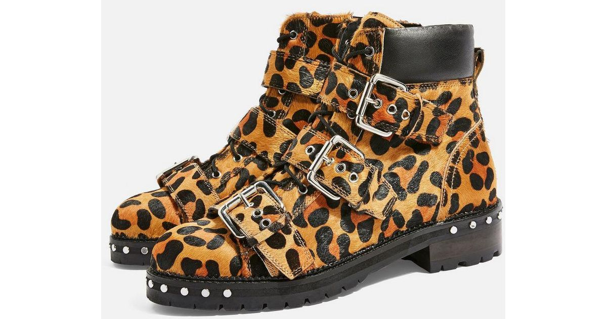 Animal Leopard Print Hiker Boots - Lyst