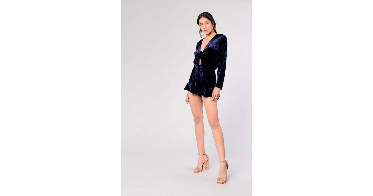 bbd26ad24bd5 Topshop velvet Tie Playsuit By Glamorous Petite in Blue - Lyst
