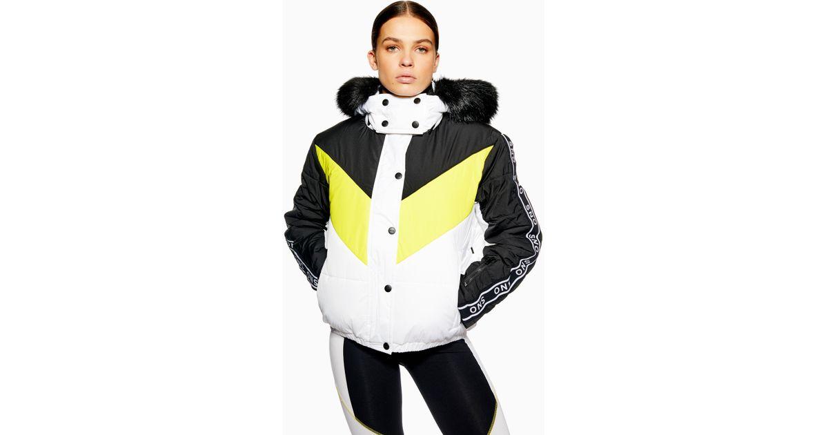 3e835de17afb TOPSHOP Sno Lopez Puffer Ski Jacket in Yellow - Lyst