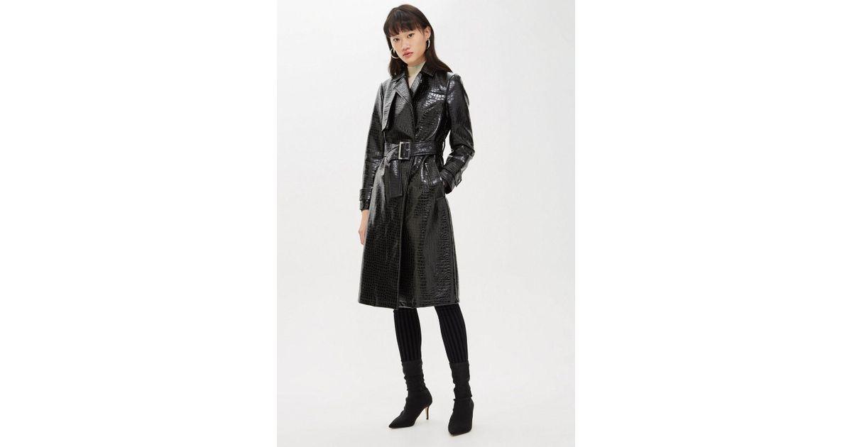 1eb94f17b TOPSHOP Black Crocodile Embossed Coat