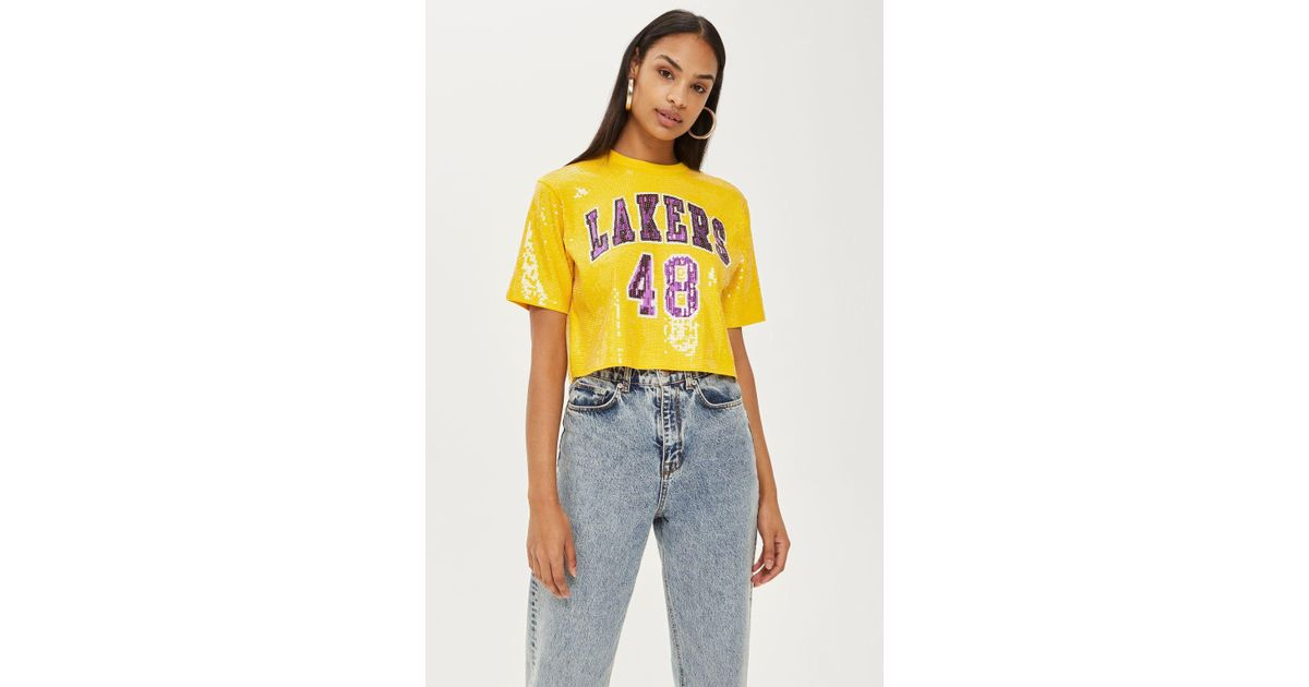 cc5cbeab37b TOPSHOP Lakers Sequin Crop Top By in Yellow - Lyst