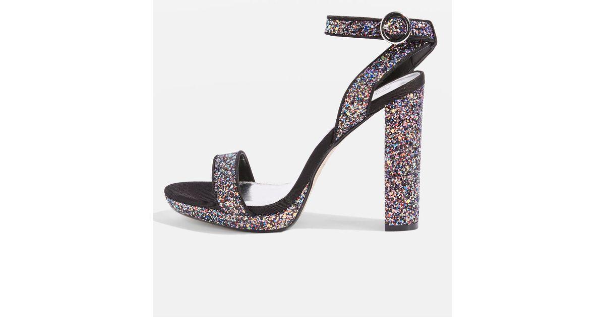 0d2877586c6 TOPSHOP Multicolor Marietta Glitter Platforms Sandals